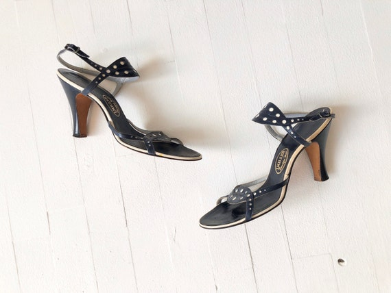 1950s Navy Dotted Strappy Sandals - image 3