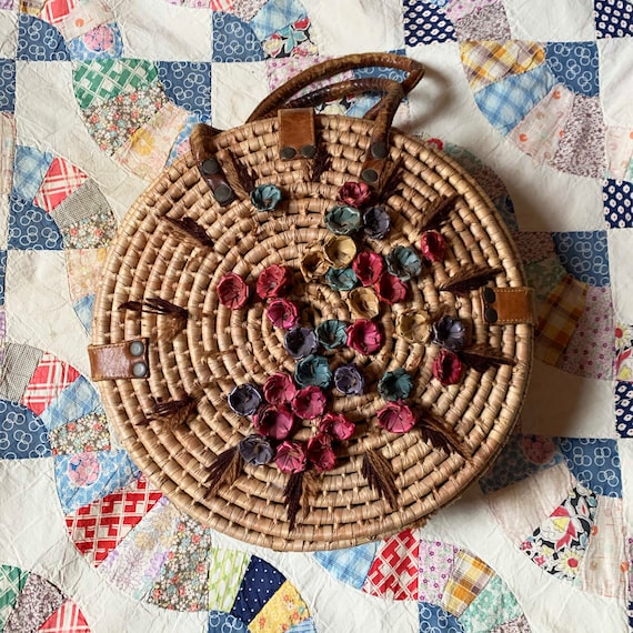 Floral Wicker Circle Bag