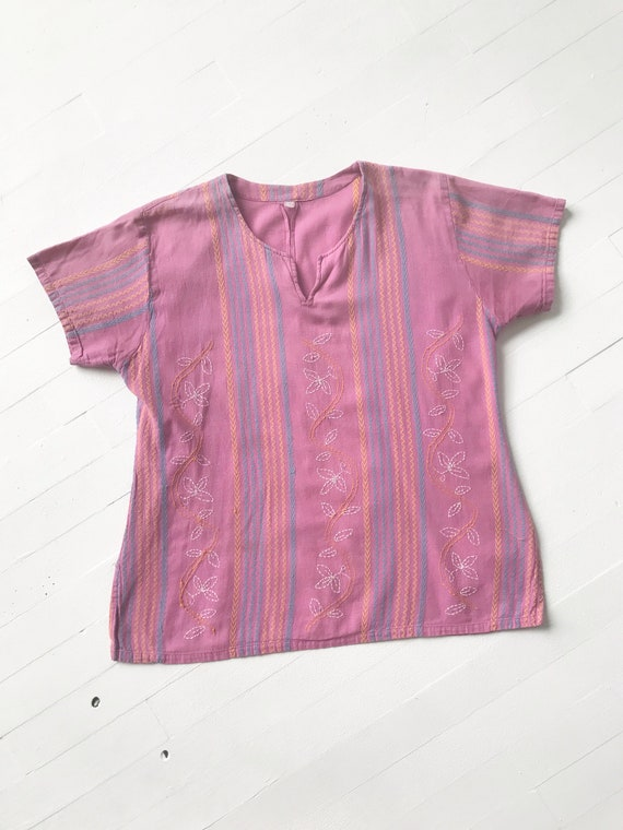 Vintage Lilac Embroidered Blouse - image 3