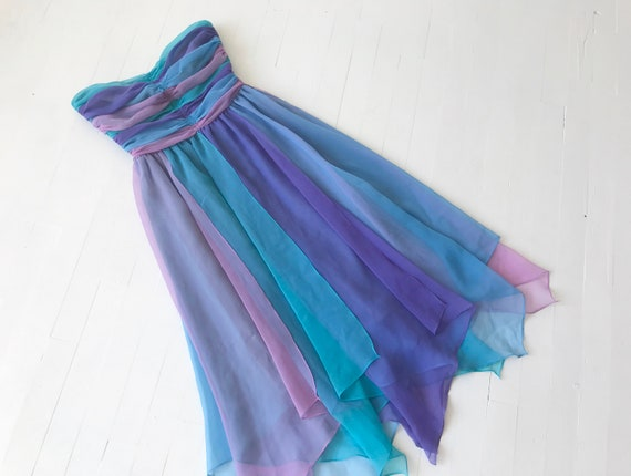 1980s-Does-1950s Pastel Colorblock Chiffon Dress