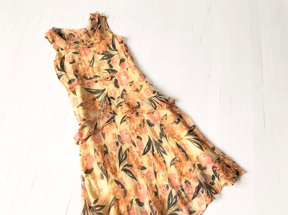 1930s Floral Silk Chiffon Dress AS IS