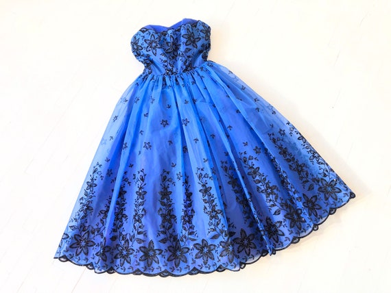 1950s Embroidered Cobalt Party Dress