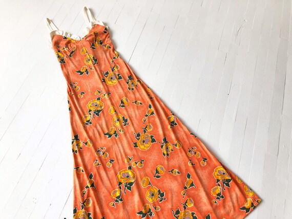 1970s Orange Rose Print Dress