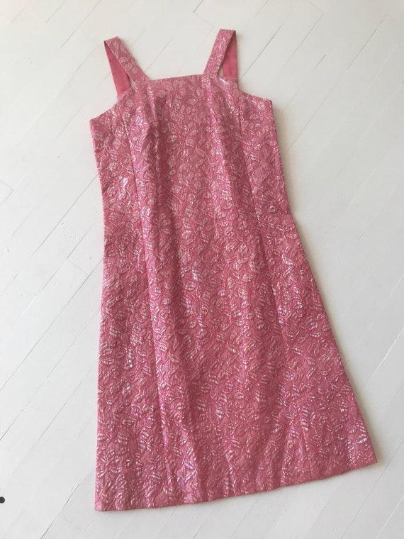 1960s Iridescent Pink Brocade Dress - image 6