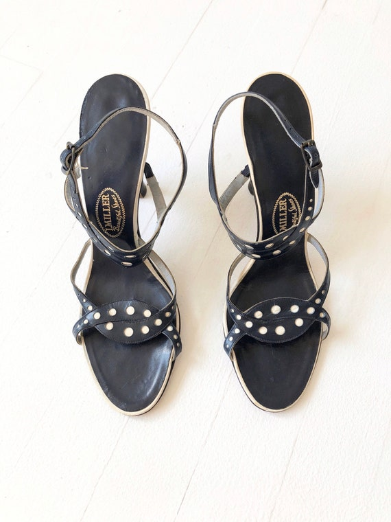 1950s Navy Dotted Strappy Sandals - image 4
