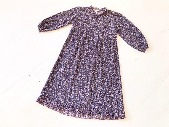 1970s Floral Indigo Dress