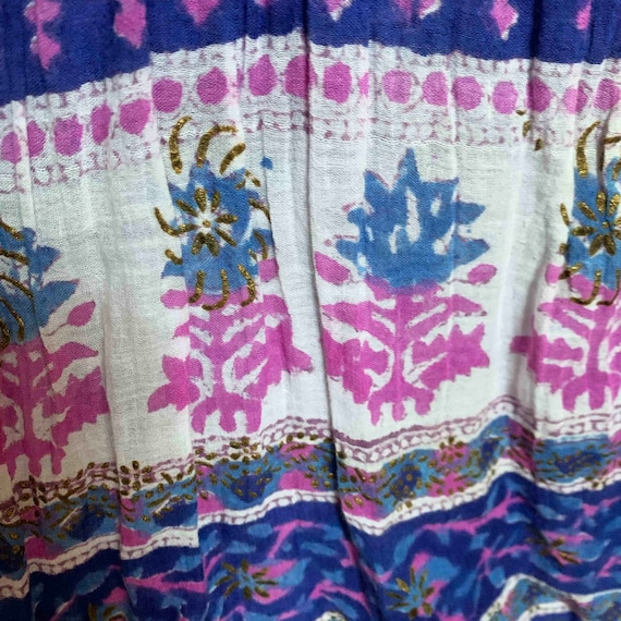 1970s Indian Indigo Cotton Gauze Dress - image 6