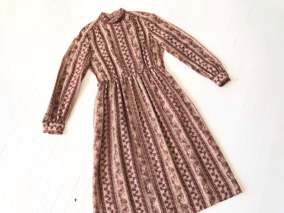 1970s Striped Floral Dress
