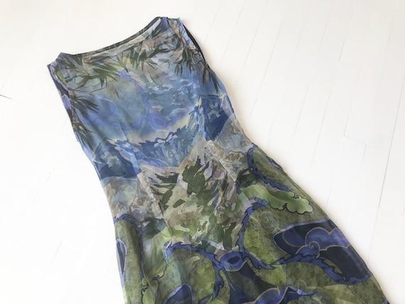 1990s Voyage Silk Dragon Print Dress