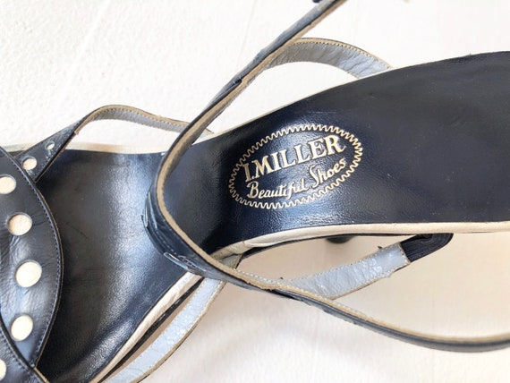 1950s Navy Dotted Strappy Sandals - image 6