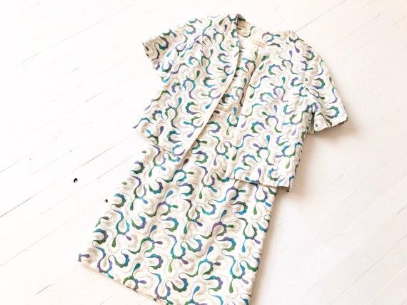 1960s Patterned Minidress + Matching Jacket