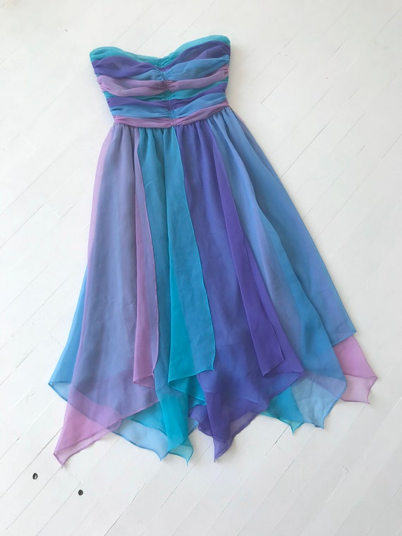 1980s-Does-1950s Pastel Colorblock Chiffon Dress - image 7