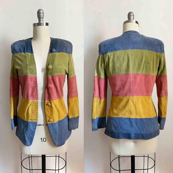 1990s Salvatore Ferragamo Rainbow Suede Jacket