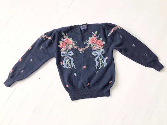 1980s Navy Embroidered Bouquet Sweater