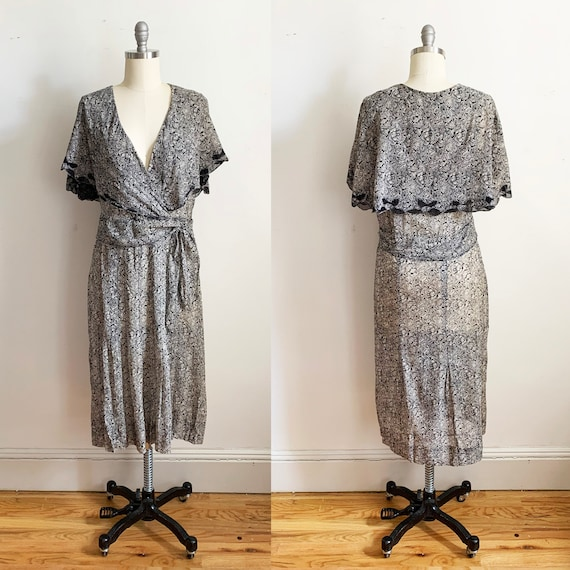 1930s Cotton Voile Cape Dress