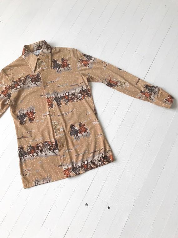 1970s Cowboy Print Shirt