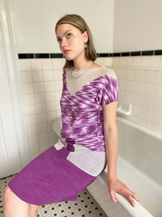 1970s Purple Space Dye Knit Two Piece