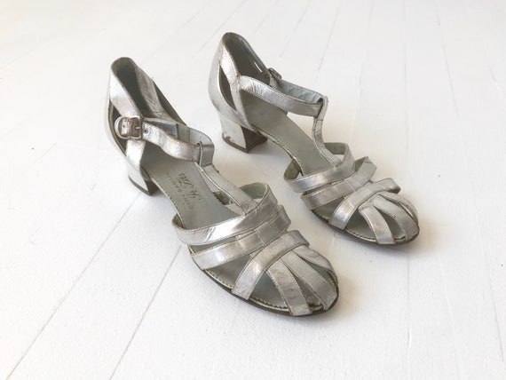 1930s Silver T-Bar Cage Shoes