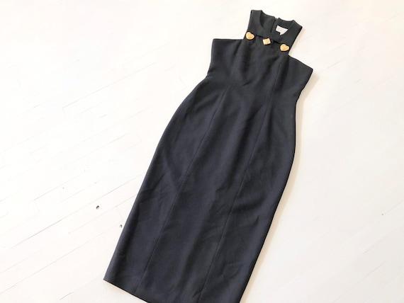 1990s Embellished Black Cage Dress