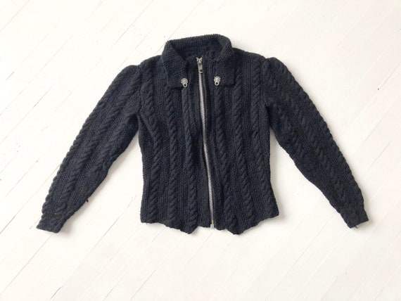Vintage Black Cable Knit Zip Front Cardigan