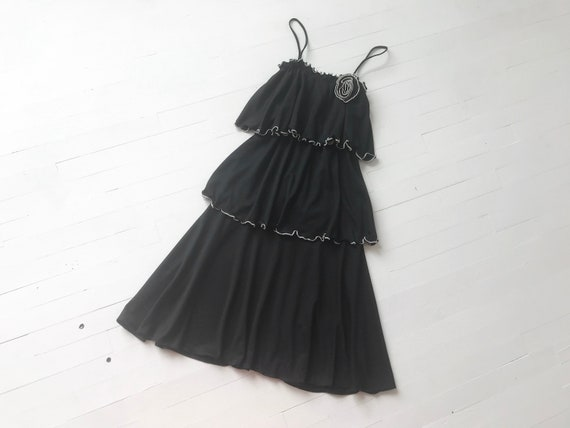 1970s Black Ruffled Studio 54 Dress