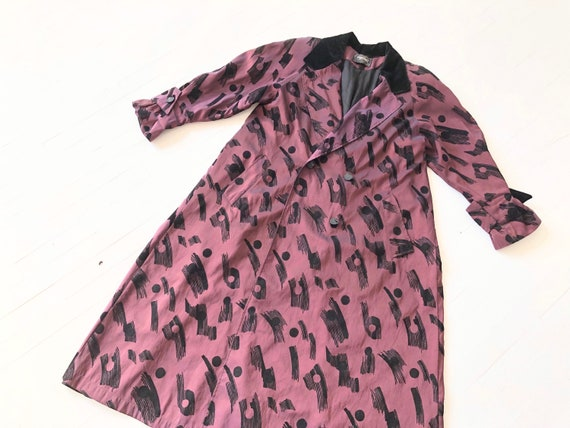 1980s Abstract Purple Trench Coat