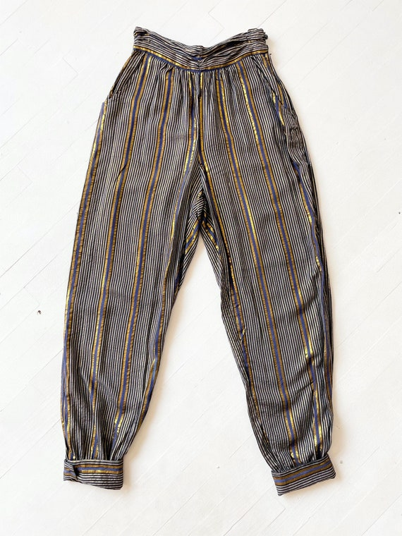1970s Adini Metallic Striped Pants - image 3
