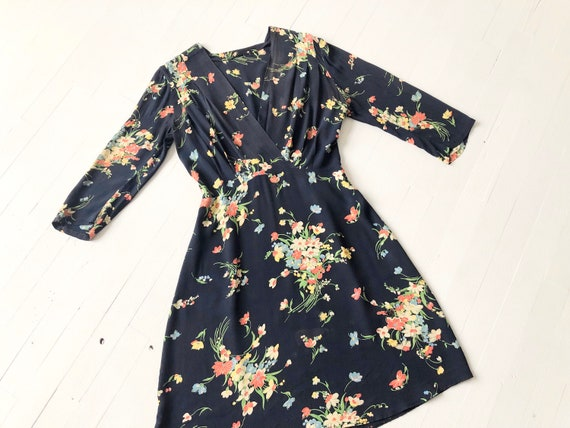 1940s Floral Rayon Dress
