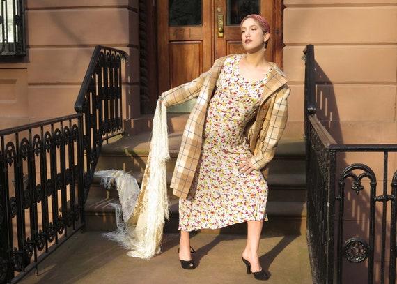 1930s Floral Chiffon Dress