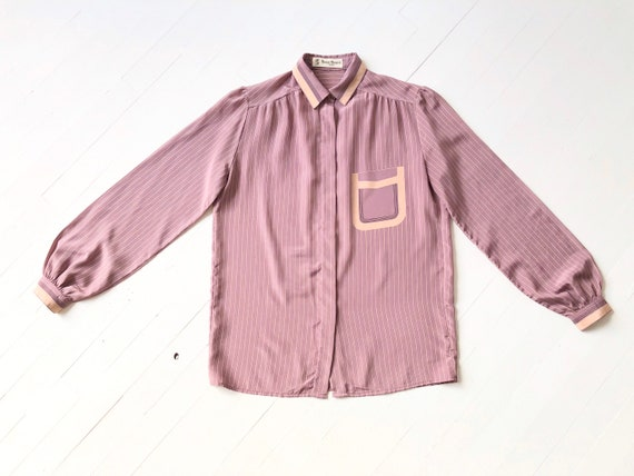 1980s Striped Mauve Trompe L'oeil Shirt