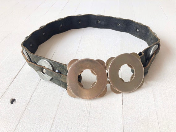 1970s Punk Leather Metal Belt