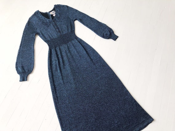 1970s Metallic Blue Knit Maxi Dress