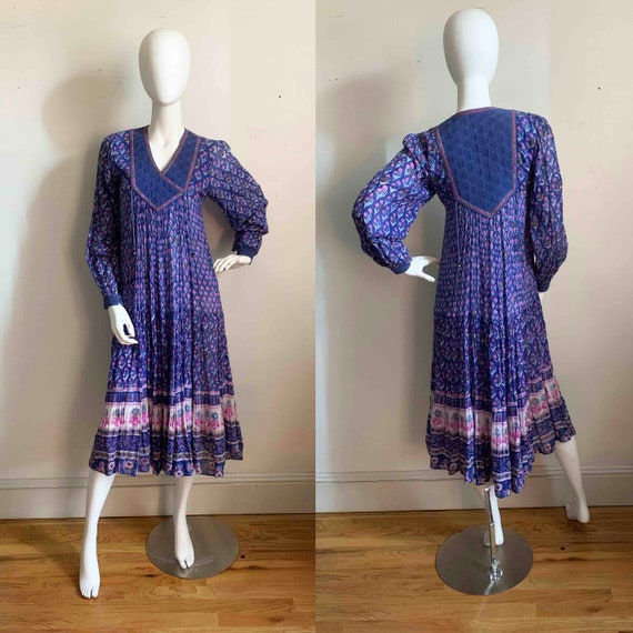 1970s Indian Indigo Cotton Gauze Dress - image 1