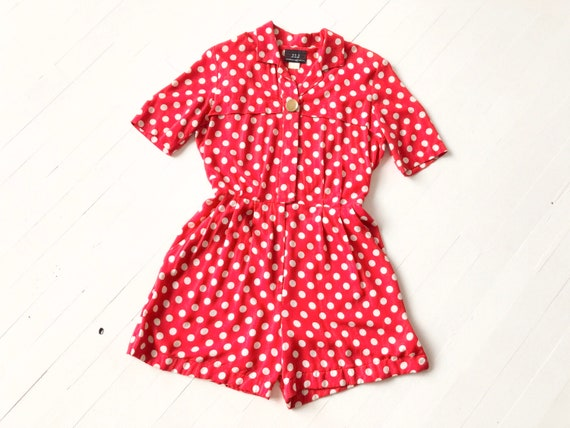 1980s Red Polka Dot Romper