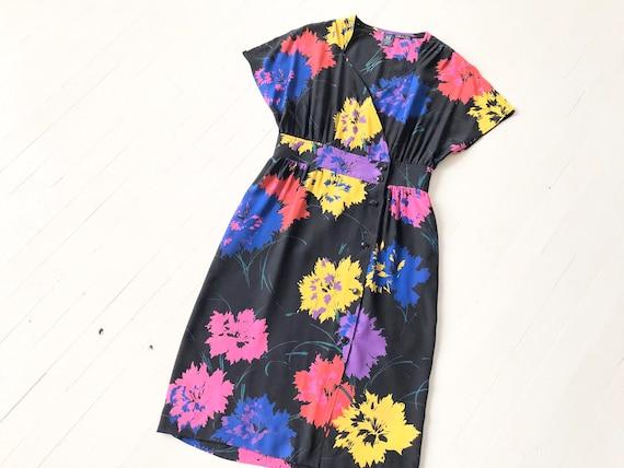 1980s Emanuel Ungaro Silk Floral Dress