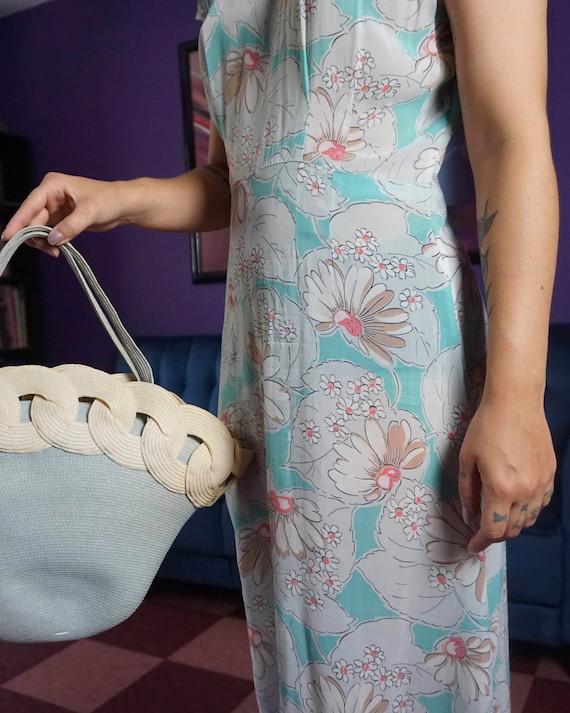 1940s Blue Daisy Print Dress