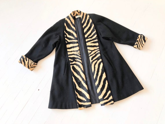 1980s does 1950s Zebra Trim Coat