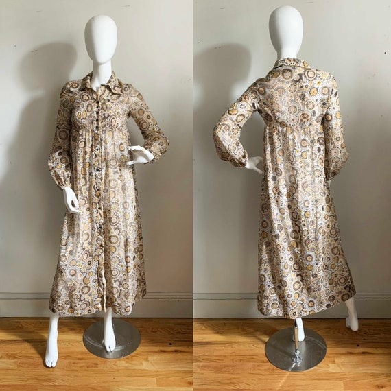 1960s Bernshaw Voile Floral Groove Dress