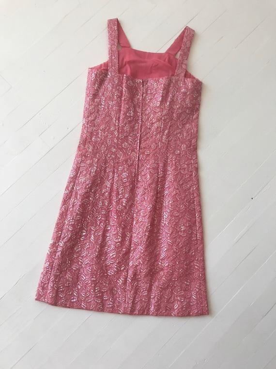 1960s Iridescent Pink Brocade Dress - image 4