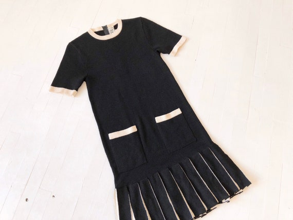 1980s Black + White Pleated Knit Dress