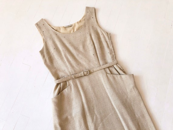 1950s Linen Rhinestone Dress