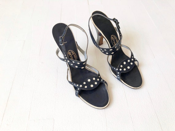 1950s Navy Dotted Strappy Sandals