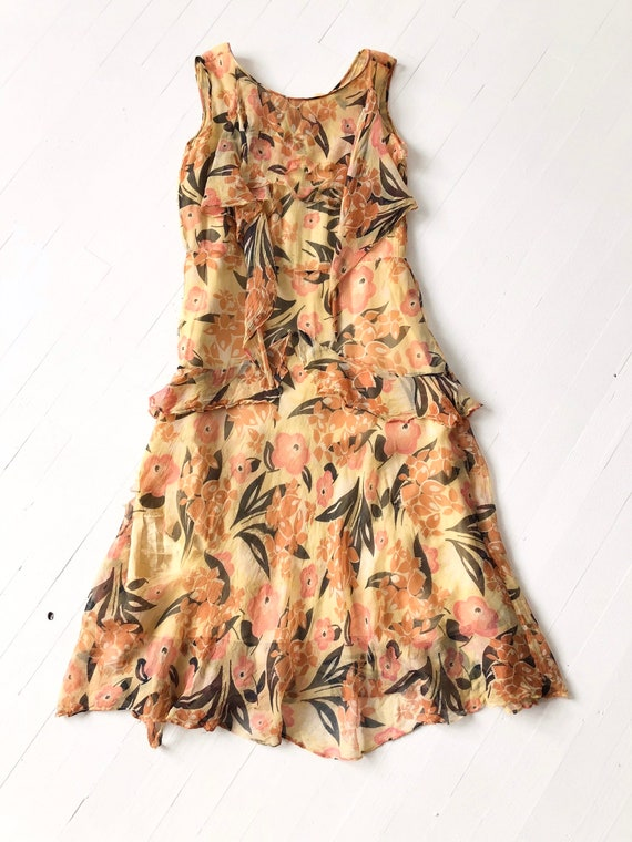 1930s Floral Silk Chiffon Dress AS IS - image 7