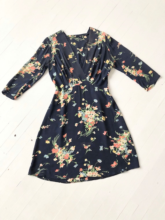 1940s Floral Rayon Dress - image 3