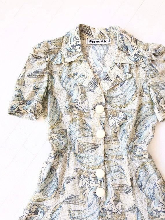 1970s Pointillist Deco Print Dress
