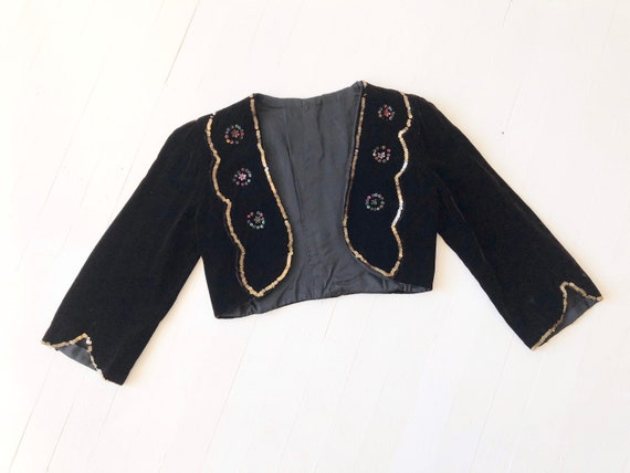 1930s Sequin + Velvet Bolero Jacket