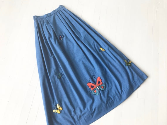 Vintage Chambray Embroidered Butterfly Maxi Skirt