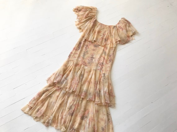 1970s-Does-1920s Silk Chiffon Floral Ruffled Dress - image 10