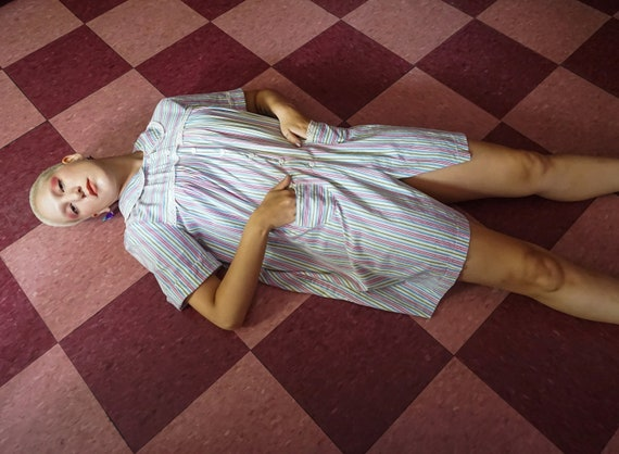1950s Striped Eyelet Shirt Minidress / Smock Top