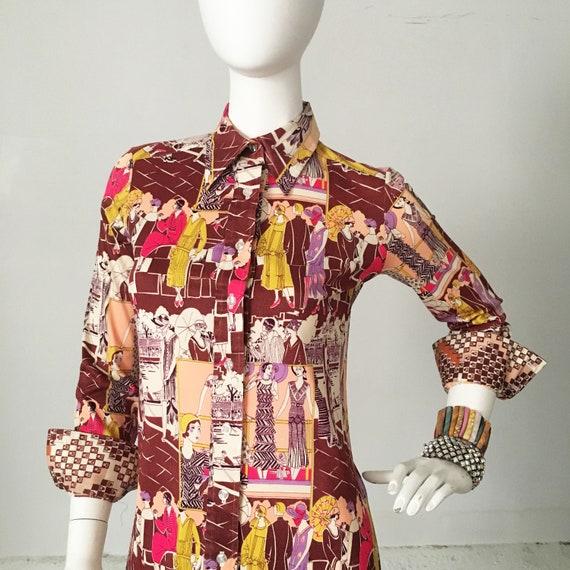 1970s Geoffrey Beene Bazaar Deco Print Dress